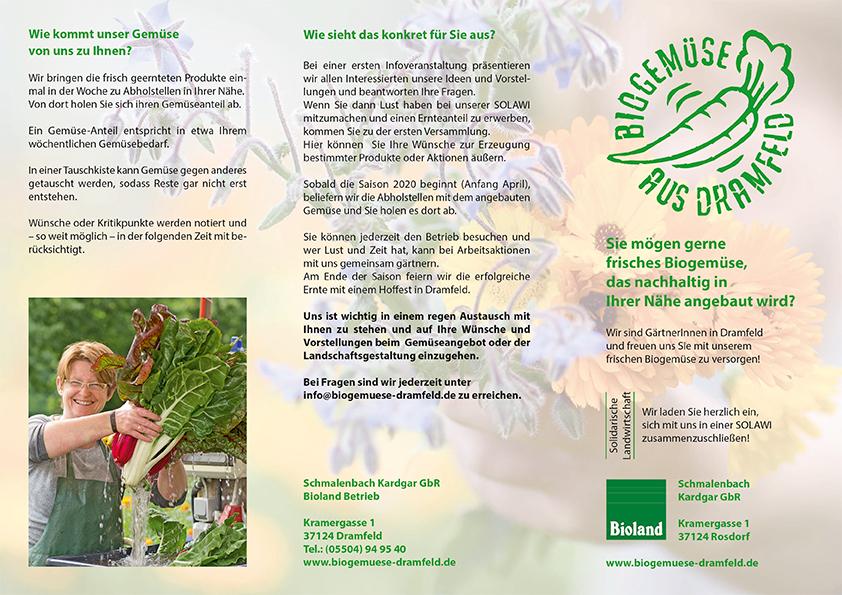 Solidarische Landwirtschaft- Flyer - Biogemüse aus Dramfeld